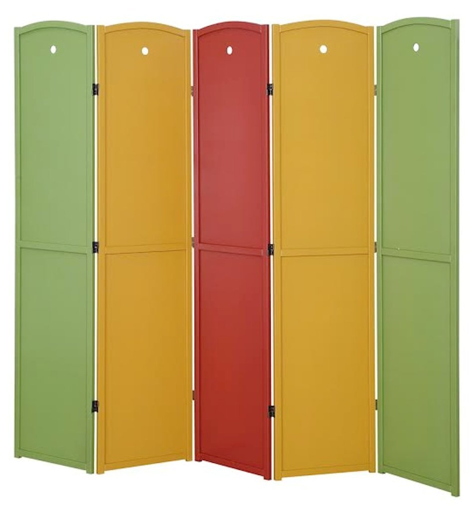 Legacy Decor 5-Panel, Multi Color Childrens Room Divider, Solid Wood Screen Room Divider