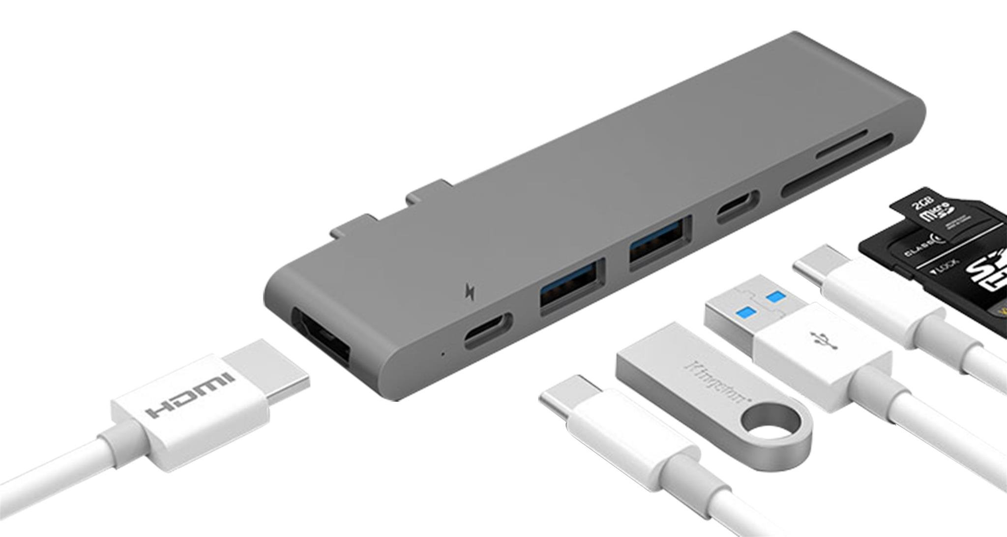iUSBC Type-C Hub Multiport Adapter Thunderbolt 3 (40Gbs) 2 USB 3.0 USB-C (5Gbs) 4K HDMI, SD/Micro Card Reader Ports, Pass Through Charging for MacBook Pro 2016/2017 13 Inch and 15 Inch, Space Gray
