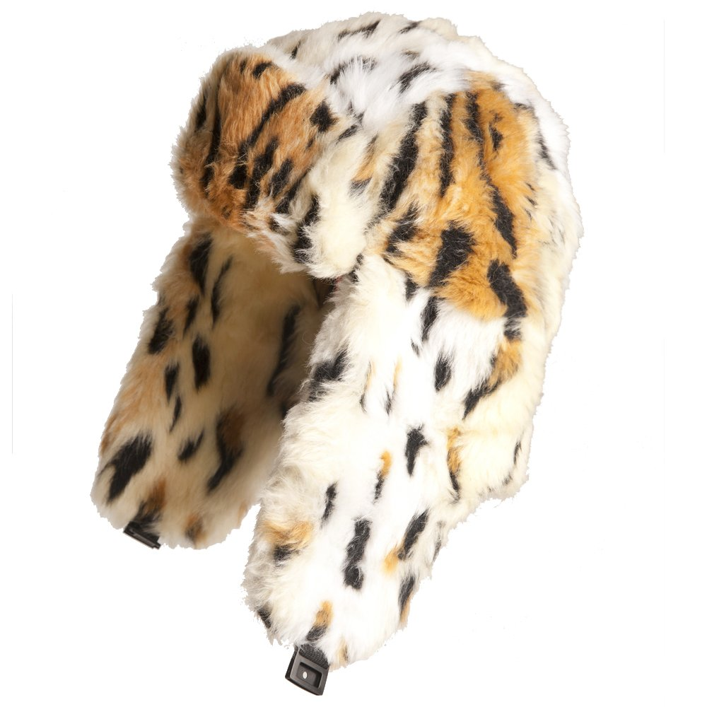 Ladies Winter Warm Beige Faux Fur Leopard Print Trapper Hat in sizes 58cm or 59cm