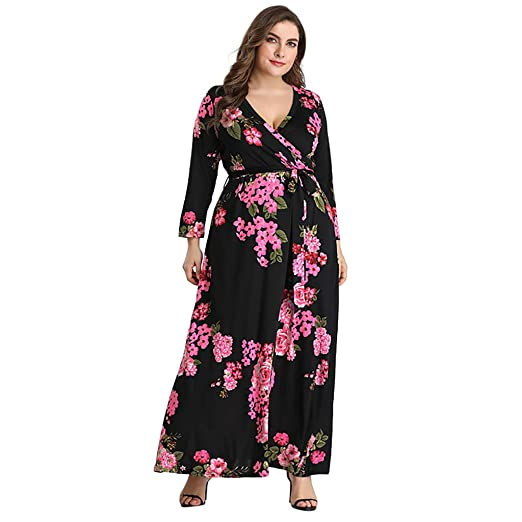 Women\'s Floral Maxi Dress V-Neck Long Sleeve Dress Ladies Holiday ...