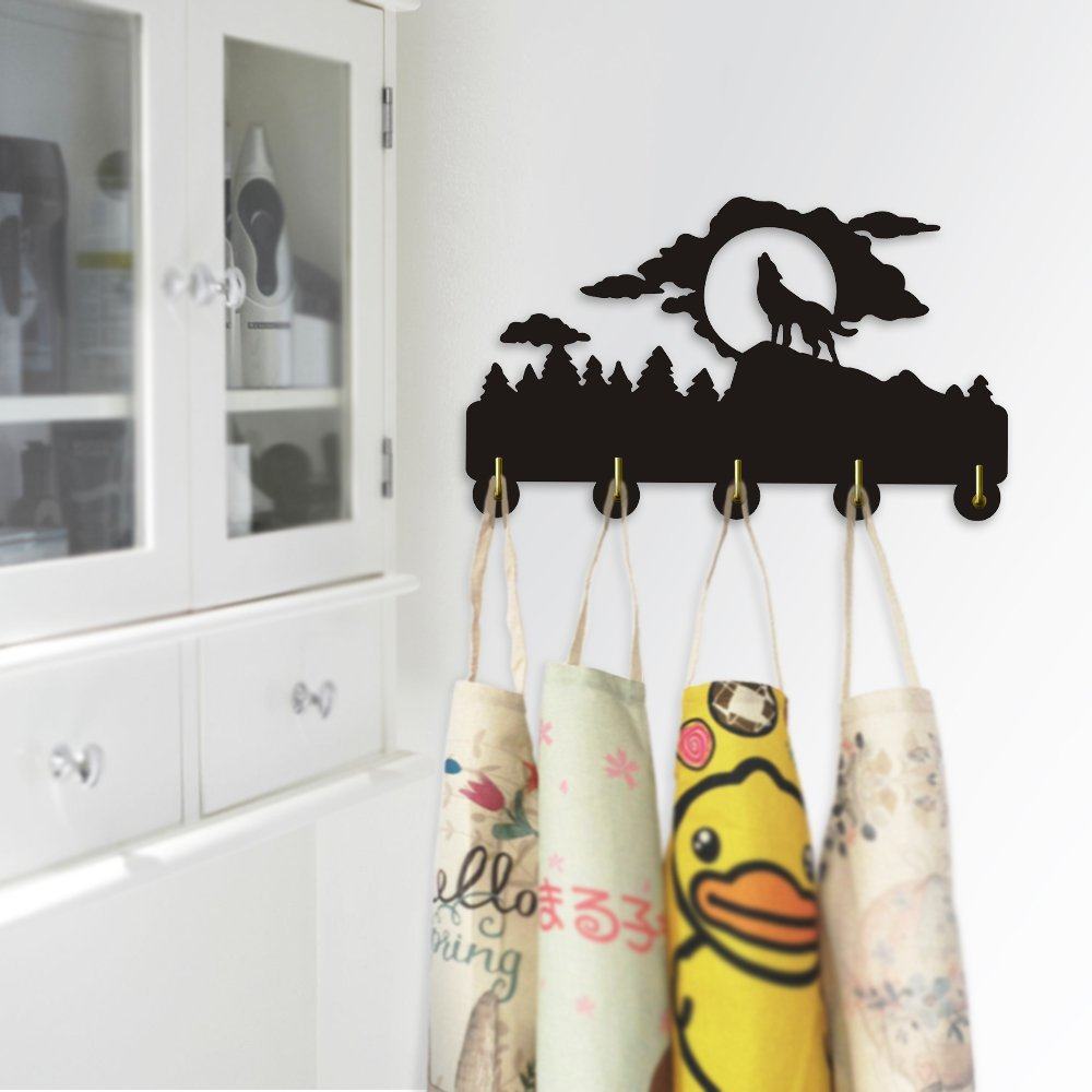 Howling Wolf Silhouette Household Decor Wall Art Wall Hooks Wild Animal Clothes Coat Hanger Keys Holder Hooks Bathroom Kitchen Robe Hook