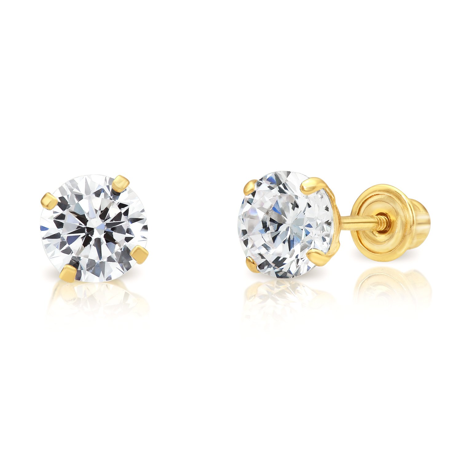 14k Yellow Gold Solitaire Cubic Zirconia Stud Earrings with Screw Backs (5mm) by Art and Molly