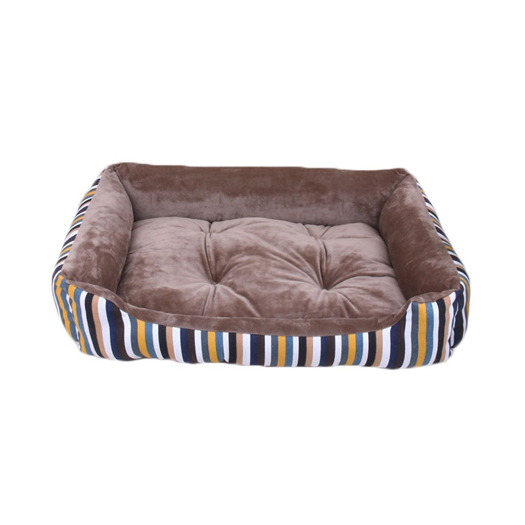 Khaki S Khaki S Pet Bed Striped Cloth Kennel Soft and Comfortable Waterproof Non-Slip Durable B1 Pet Bed (color   Khaki, Size   S)
