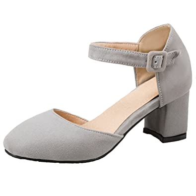 8495c04c3c AIYOUMEI Damen Riemchen Pumps Blockabsatz Sandalen mit Knöchelriemchen und 6cm  Absatz Riemchensandalen High Heels Schuhe Bequem