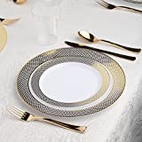 Kaya Collection - Diamond Gold Disposable Plastic Dinnerware Party Package - 60 Person Package - Includes Dinner Plates, Salad/Dessert Plates, Gold Cutlery and Tumblers