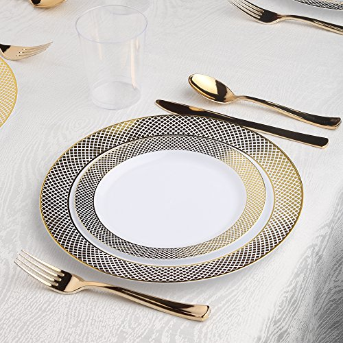 Kaya Collection - Diamond Gold Disposable Plastic Dinnerware Party Package - 60 Person Package - Includes Dinner Plates, Salad/Dessert Plates, Gold Cutlery and Tumblers by Kaya Collection
