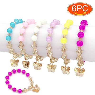 Elesa Miracle 6pc Little Teens Butterfly Pendant Beaded Value Set Kids Girl Party Favor Pretend Play Bracelet, Blue,Pink,Red,Yellow,Purple: Home & Kitchen