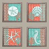 4 Lovely Teal and Coral Ocean Seashell Sand Dollar Seahorse Star Fish Collage; Nautical Decor; Four 8x8 Inch Distressed Framed Prints; Ready to hang!