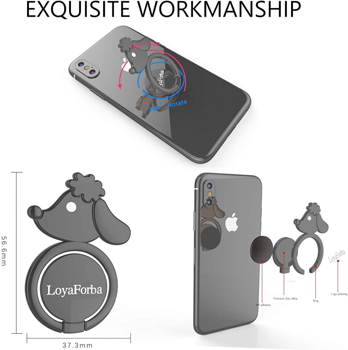 LoyaForba Cell Phone Ring Holder 360/° Rotation Thin Universal Animal Magnetic Phone Finger Ring Stand for Any Smartphones