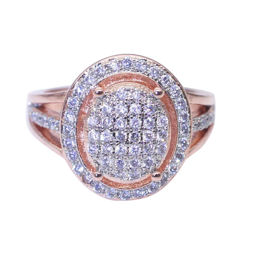 Slendima Exquisite Rhinestones Inlaid Ring Women Fashion Wedding Engagement Banquet Rose Gold Jewelry Rose Gold US 9