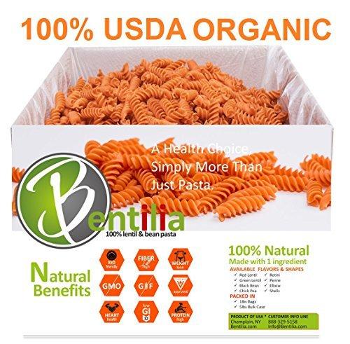 Bentilia Organic Lentil Pasta, Red Lentil Rotini, 5 lb Bulk Case - 100% Natural, Low Glycemic Index, High Protein & Fiber, Non-GMO, Gluten Free Pasta