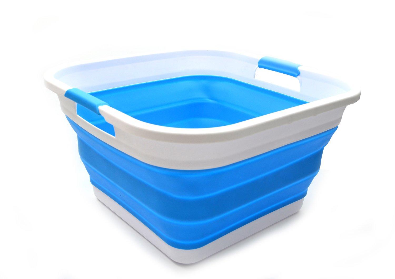 SAMMART Collapsible Plastic Laundry Basket - Square Tub/Basket - Foldable Storage Container/Organizer - Portable Washing Tub - Space Saving Laundry Hamper (1, Sky Blue)