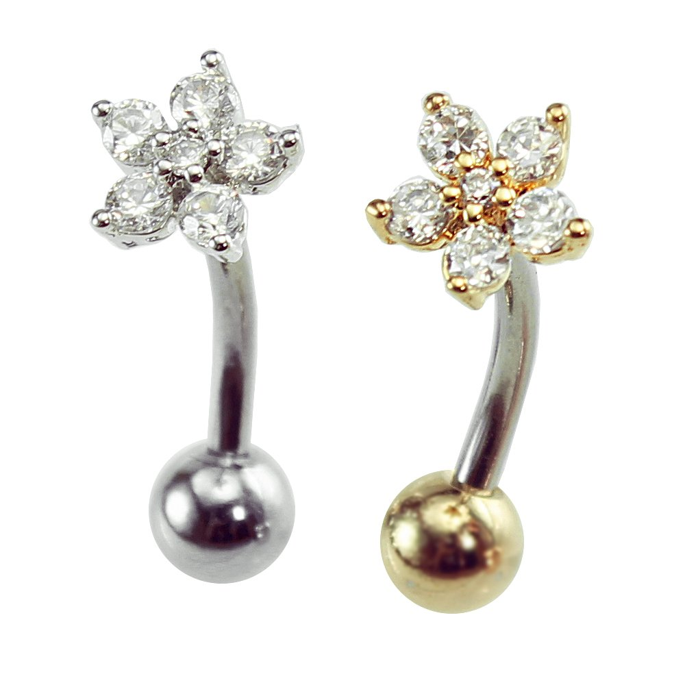 16g Dainty flower ear cartilage rook earring, flower curved barbell, sung, 1pc (Silver, 6mm bar length, 3mm ball end)