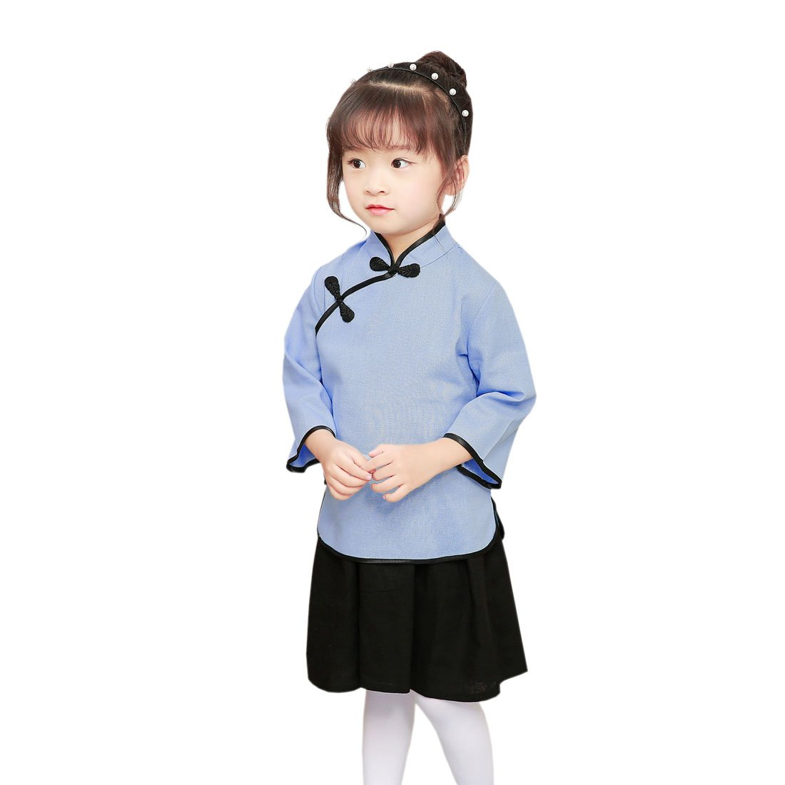 ACVIP Little Girls Solid Color Chinese Cheongsam Tops and Skirt (7-8 years/Tag 150, Light Blue)