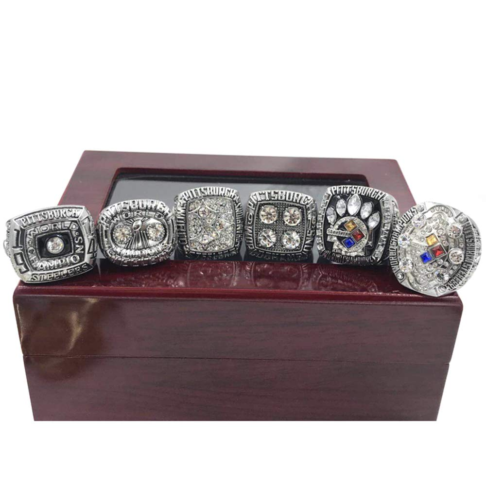 Gloral HIF 6Pcs Pittsburgh Steelers Championship Rings Super Bowl Rings Collectible Silver with Display Wooden Box