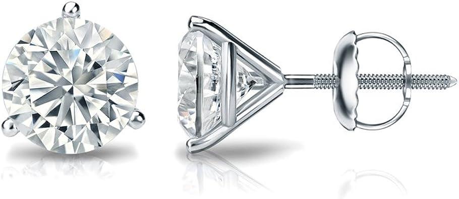 Push-Back 3-Prong Martini Set 0.08cttw, Good, VS1-VS2 Diamond Wish 10k Gold Round SINGLE Diamond Stud Earring