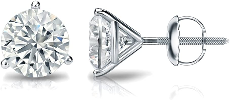 Push-Back Bezel Set 0.08cttw, White, VS2-SI1 Diamond Wish 14k Gold Round SINGLE Diamond Stud Earring