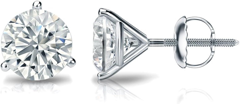 0.08cttw, Good, I1-I2 Screw-Back 4-Prong Basket Diamond Wish 14k Gold Round SINGLE Diamond Stud Earring