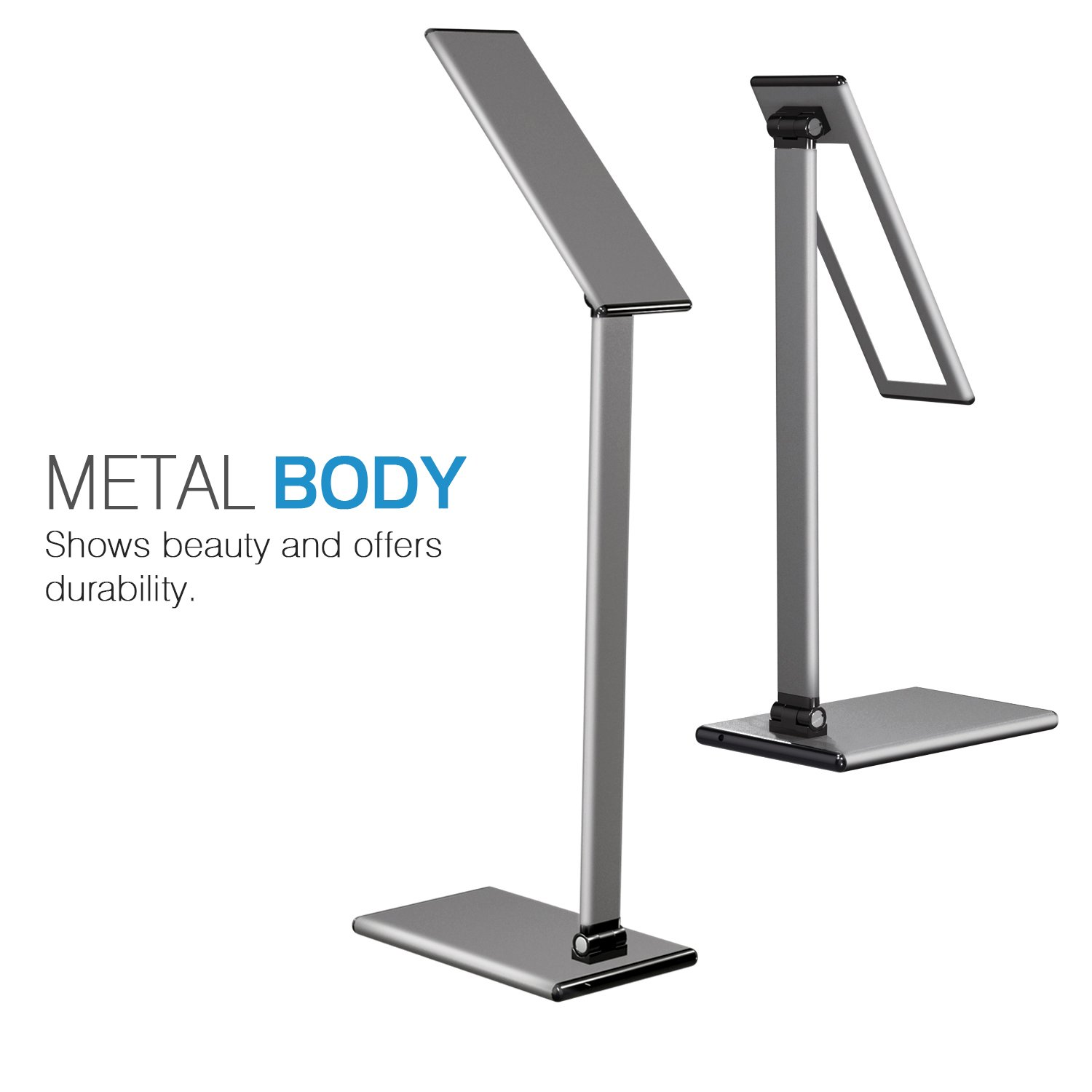 MoKo LED Desk Lamp, 8W Eye-Care Smart Touch Control Table Lamps with Rugged Aluminum Alloy Body, Stepless Adjusted Color Temperature/Brightness Level, Rotatable Arm/Head, Memory Function - Dark Gray by MoKo (Image #3)