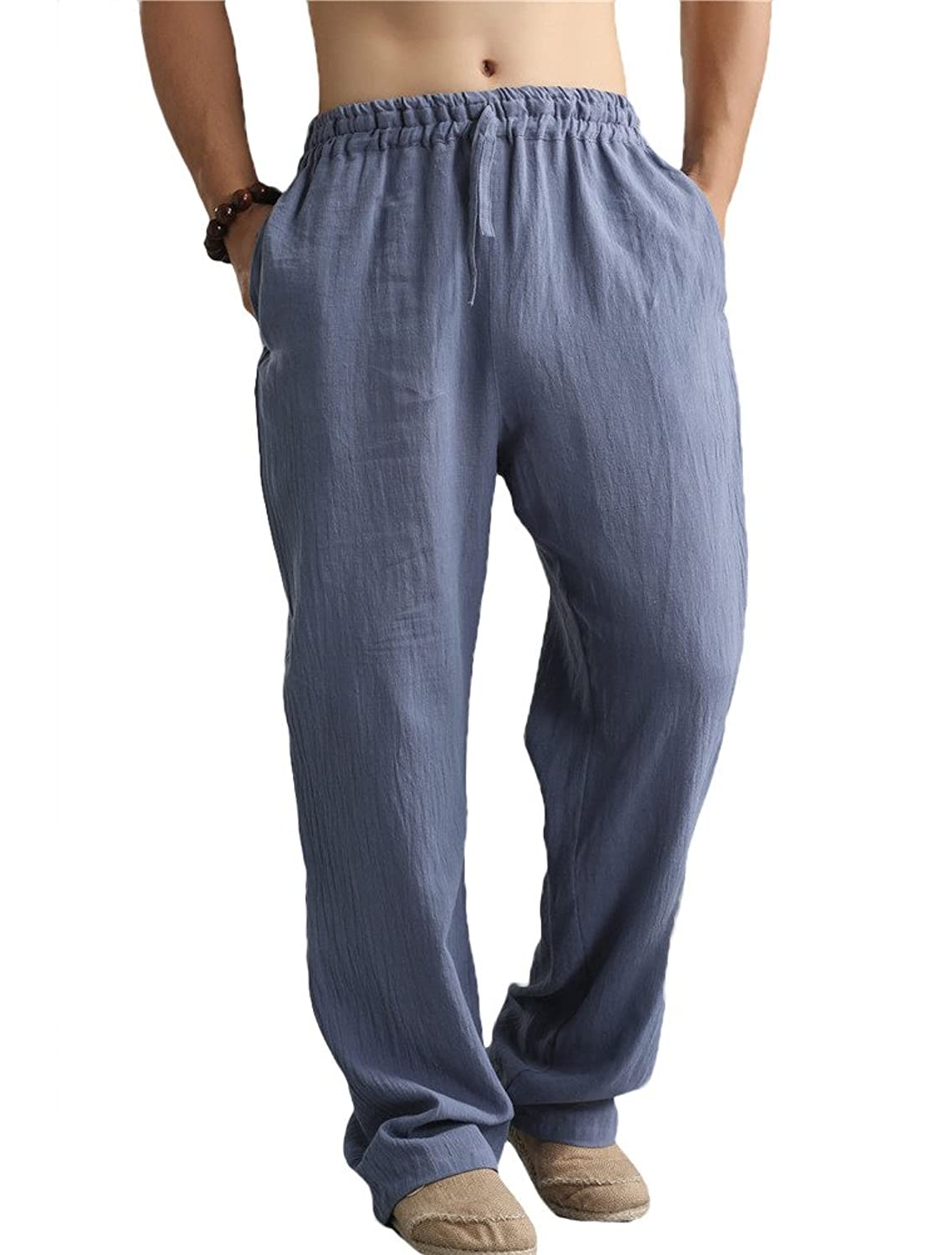 MatchLife Men's New Linen Casual Spring Summer Pants with Pockets
