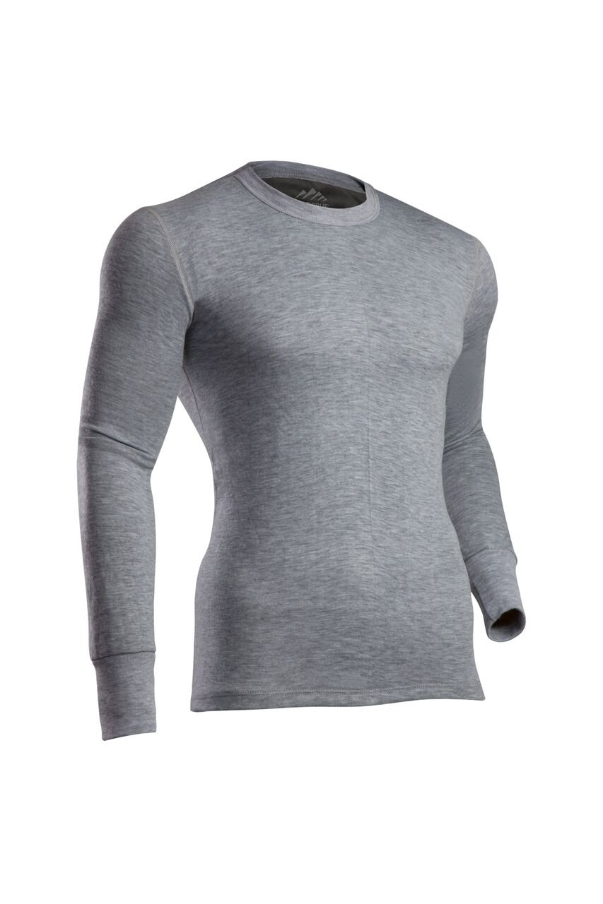 ColdPruf Men's Platinum II Performance Base Layer Long Sleeve Big Tall Crew Neck Top, Heather Grey, 3X Tall by ColdPruf