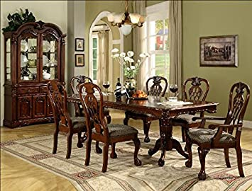 Amazon Com Click 2 Go 42 X72 96 X30 H Brussels Dining Table With 2x 12 Leaf W Double Pedestal Base Tables