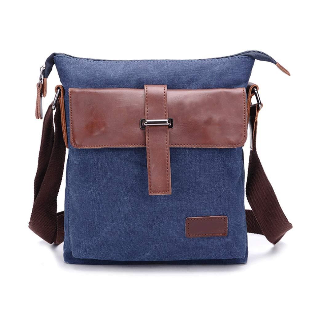 Canvas Bag Mens Messenger Bag Shoulder Bag Retro Casual Color : Blue, Size : S