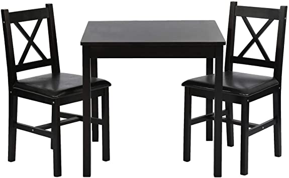 Amazon.com - FDW Dining Kitchen Table Dining Set 3 Piece Wood In Door Square Small Farmhouse Dining Room Table Set Table And Chair For 2 Person, Dark Brown - Table & Chair Sets