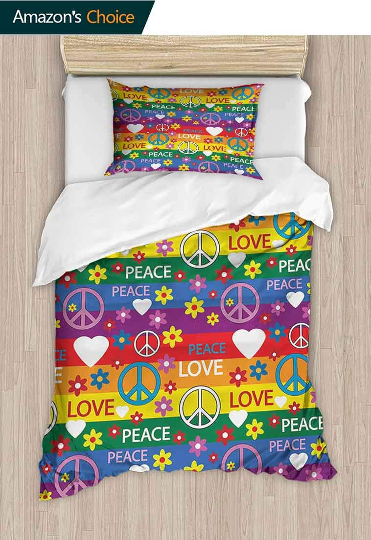 Groovy Custom Made Quilt Cover and Pillowcase Set, Heart Peace Symbol Flower Power Political Hippie Cheerful Colors Festival Joyful, Decorative 2 Piece Bedding Set with 1 Pillow Sham Multicolor