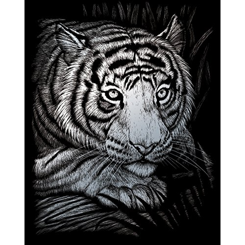 - ROYAL BRUSH Silver Foil Engraving Art Kit, 8-Inch by 10-Inch, White Tiger