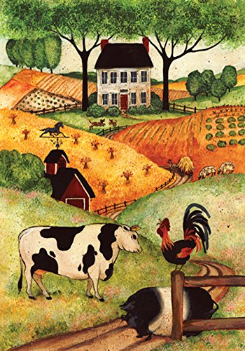 Toland Home Garden Farm Gathering 28 x 40 Inch Decorative Country Cow Pig Rooster House Flag ()