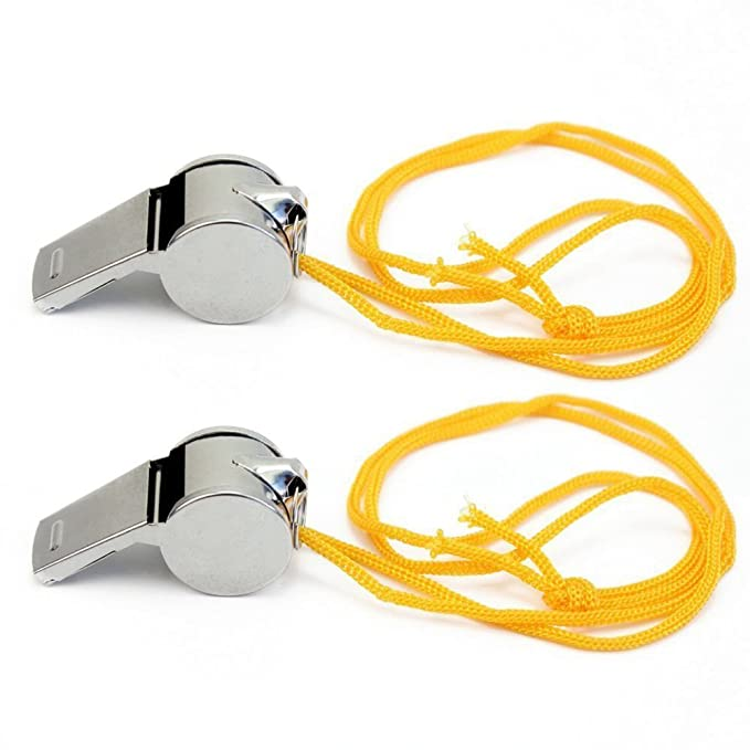 2X METAL REFEREE WHISTLE WITH KEY RING SPORTS SCHOOL FOOTBALL RUGBY OUTDOOR UK