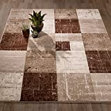 City Collection Contemporary Sculpted Effect Faded Geometric Checkered  Brown Beige Area Rug – 5×7 (5'3″ x 7'3″) For Sale