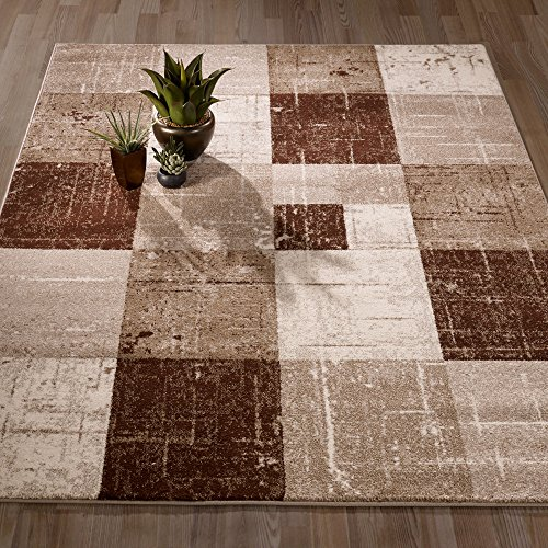 Beige Contemporary Rug - Ottomanson City Collection Contemporary Sculpted Effect Faded Geometric Checkered Brown Beige Area Rug - 5x7 (5'3