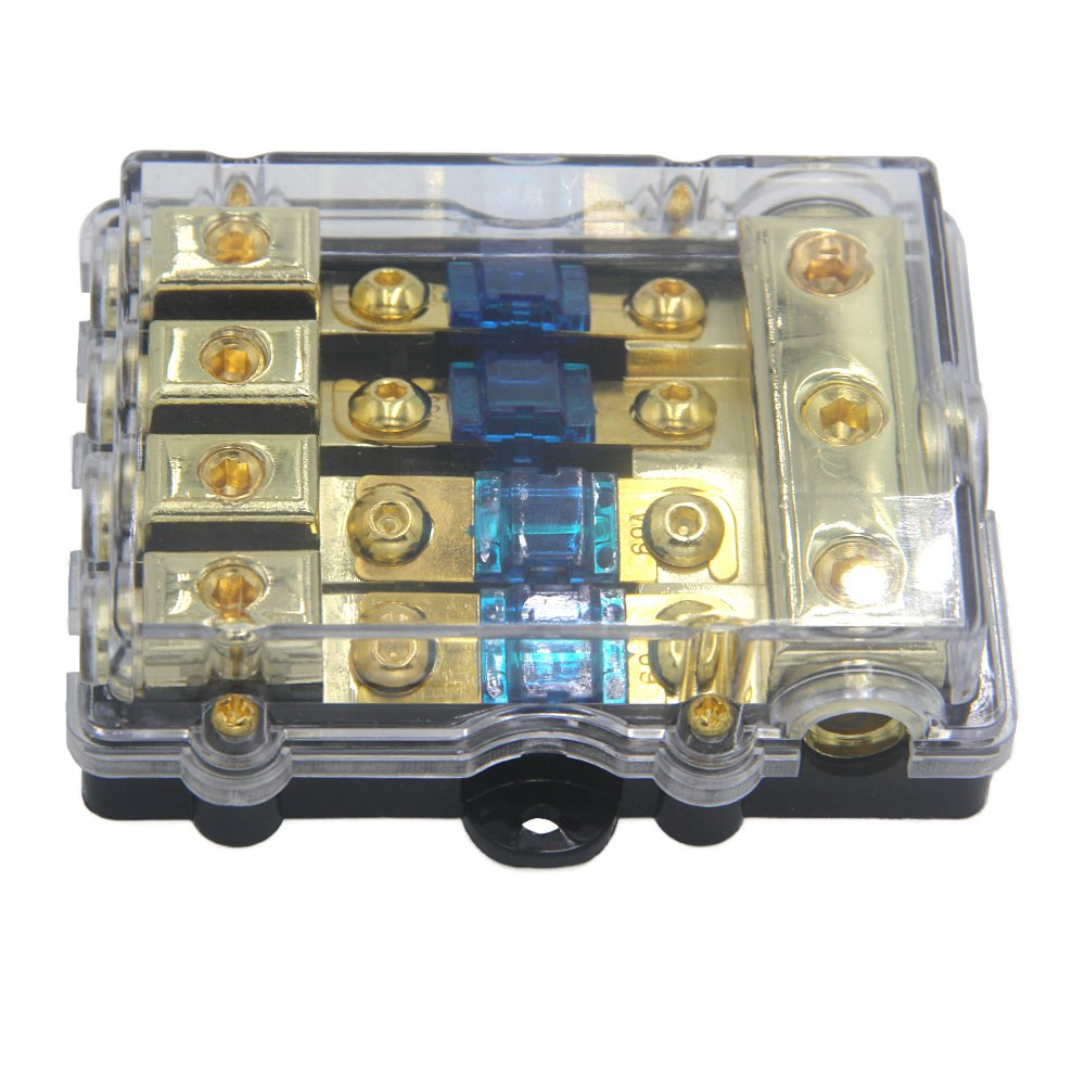 ZOOKOTO Power Distribution Block (4 - way), 6/8 AWG Gauge AGU Fuse Holder Distribution Block 2/4 Gauge In to (6) 8 Gauge Out with 60A MANL Fuses by ZOOKOTO (Image #4)
