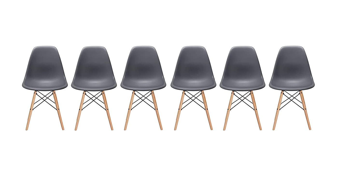 Grey Inspirer Studio® Set of 6 New 17 inch SeatDepth Eames Style Side Chair with Natural Wood Legs Eiffel Dining Room Chair Lounge Chair Eiffel Legged Base Molded Plastic Seat Shell Top Side Chairs (Ribbed Black)