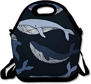 Lunch Bags for Women Insulated Marine Pattern Whales Wildlife Shark Aqua Aquarium Whale Design Lunch Box Tote for Work or School