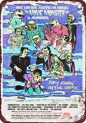 (1970 Movie Monster Glow-in-the-Dark Kits Vintage Look Reproduction Metal Tin Sign 12X18 Inches)