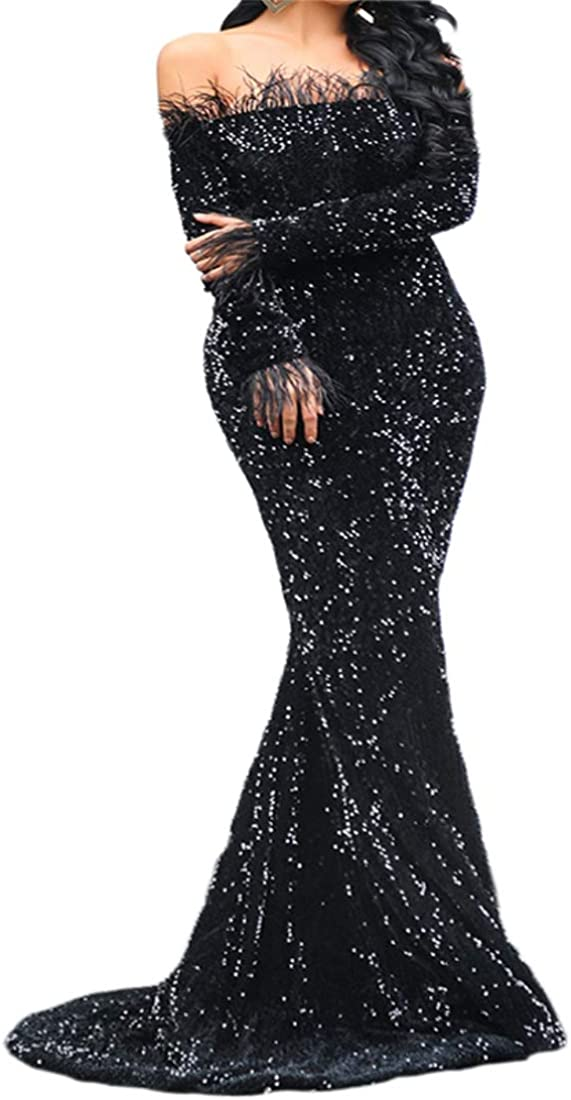 Women Strapless Off Shoulder Backless Long Sleeve Floor Length Feather Sequin Wedding Evening Party Maxi Dress