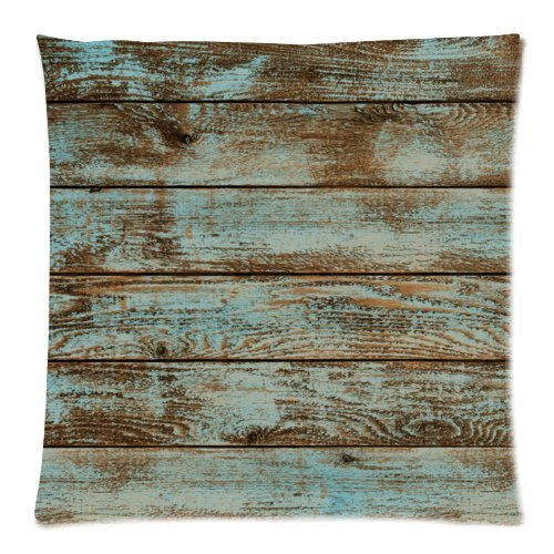 DECORLUTION Rustic Old Barn Wood Square Decorative Zippered Polyester Pillow Case 18 x 18 Inches - Barn Wood Decor