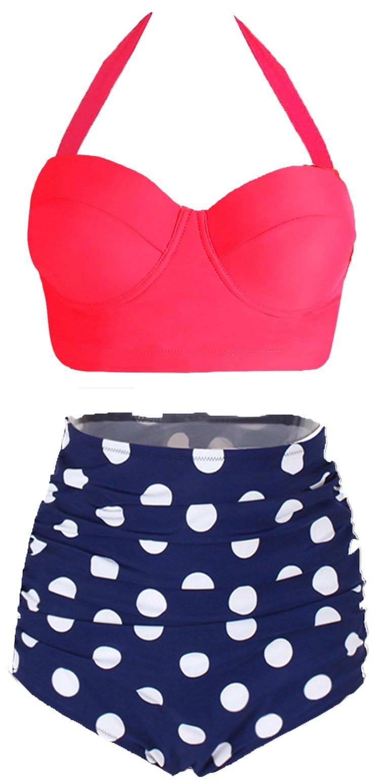 Amourri Womens Retro Vintage Polka Underwire High Waisted Swimsuit Bathing Suits Bikini,US 2-4=Tag Size S,Rose+blue