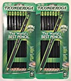 Dixon Ticonderoga Wood-Cased #2 Pencils, Pre-Sharpened, Box of 10, Black (13915) (Bundle)