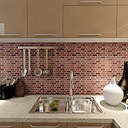 Art3d 6-Pack Kitchen Backsplashes Stiker Peel and Stick Vinyl Wall Covering, Subway Stock Brick