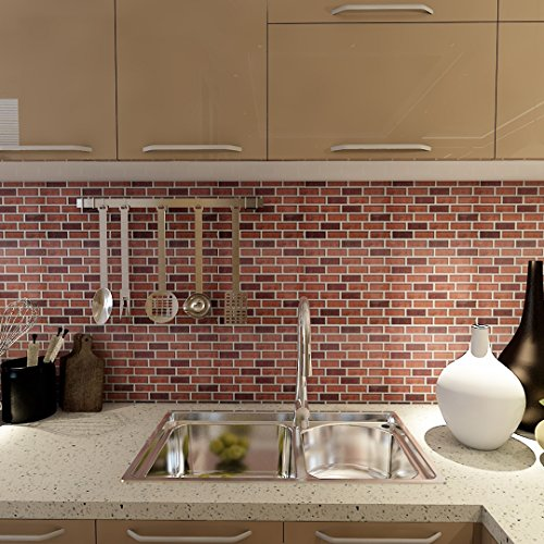 (Art3d 6-Pack Kitchen Backsplashes Stiker Peel and Stick Vinyl Wall Covering, Subway Stock Brick )