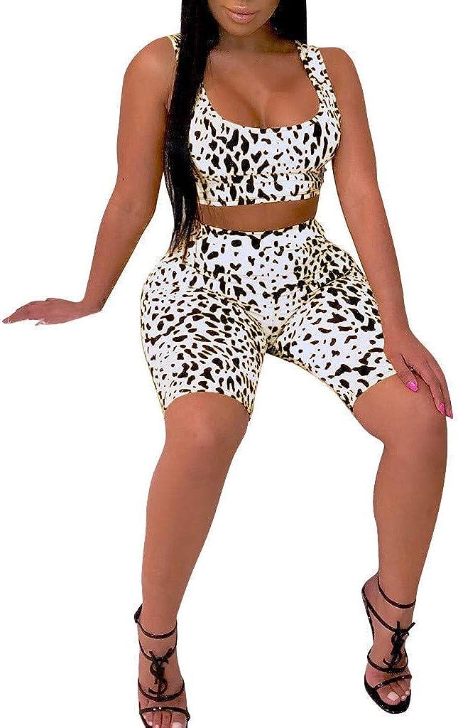 Nevera Women Casual 2 Piece Outfits Print Sleeveless Crop Tank Top Shorts