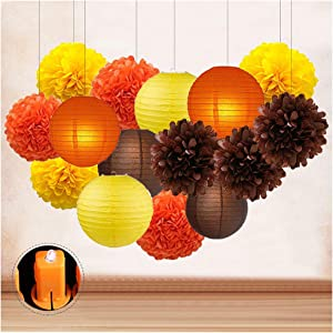 Thanksgiving Fall Party Decorations Kits, Yellow Paper Lanterns and Tissue Pompoms Harvest Home Decor, Autunm Paper Garland Round Lanterns for House Garden Outdoor Supplies Ceiling Wall Hanging Favors