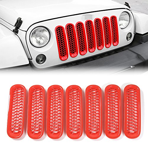 JeCar Red Front Grill Mesh Jeep Honeycomb Trim Grille Insert cover Kit Custom 3D Formed for Jeep Wrangler JK & Unlimited 2007-2015 -7 Pieces Kit