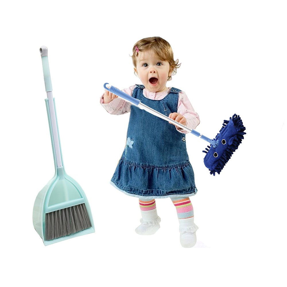 C360 Mommy's Helper! Kid's Cartoon Broom and Mop Cleaning Tools (3PCS, Blue)