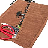 Waterproof Waxed Roll Handmade Canvas(13 Pockets) Portable Tool Hand-cut and sewn,for craftsmen and women, DIY enthusiasts(GJB13)