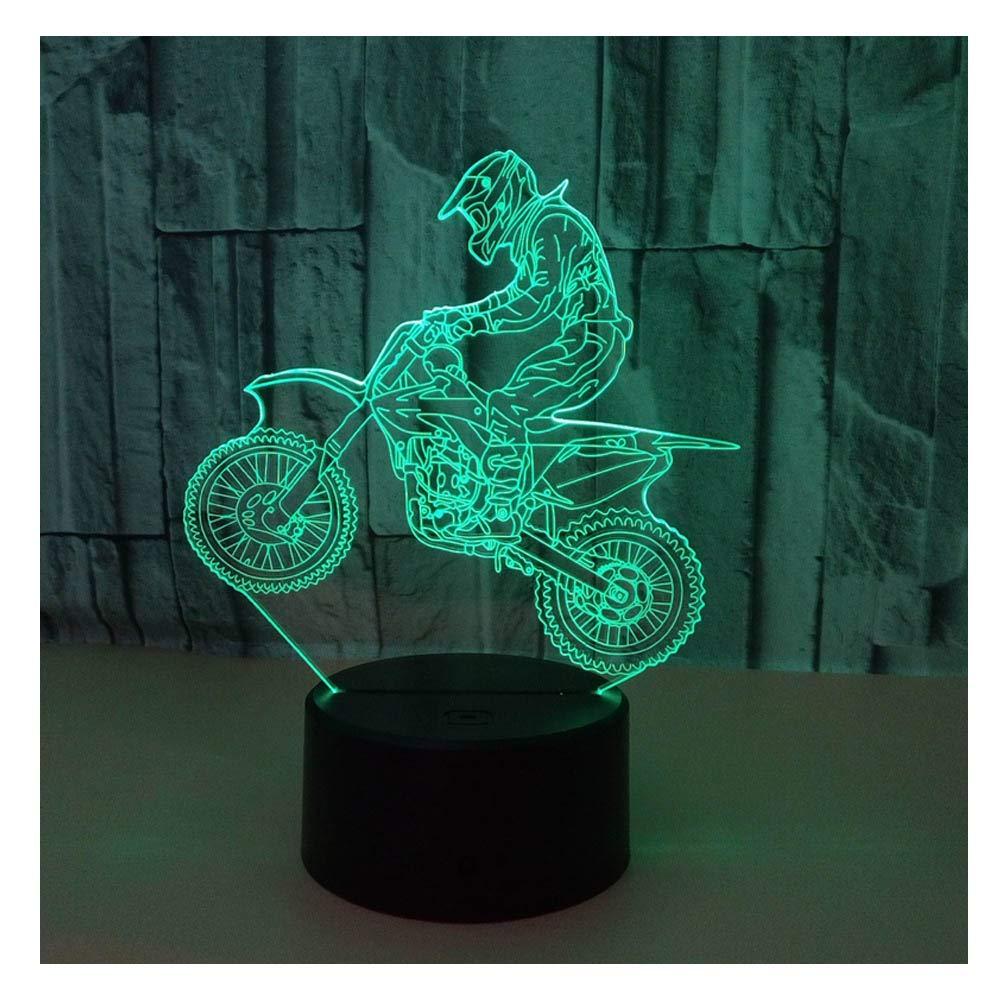 3D光学イリュージョンLEDランプ ナイトライト 驚きの7色 クイックタッチスイッチランプ 滑らかなアクリルフラット USB電源デコランプ 誕生日 クリスマス ホリデーギフト 子供 友人 自転車 B07K5PP21H Motorcycle_a